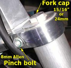 Right fork cap & pinch bolt