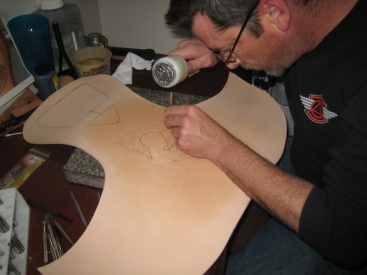 Chris of Three Mutts Custom tooling leather