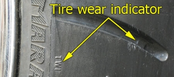 Tire tread wear indicators