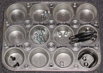 Muffin tin nut/bolt sorter