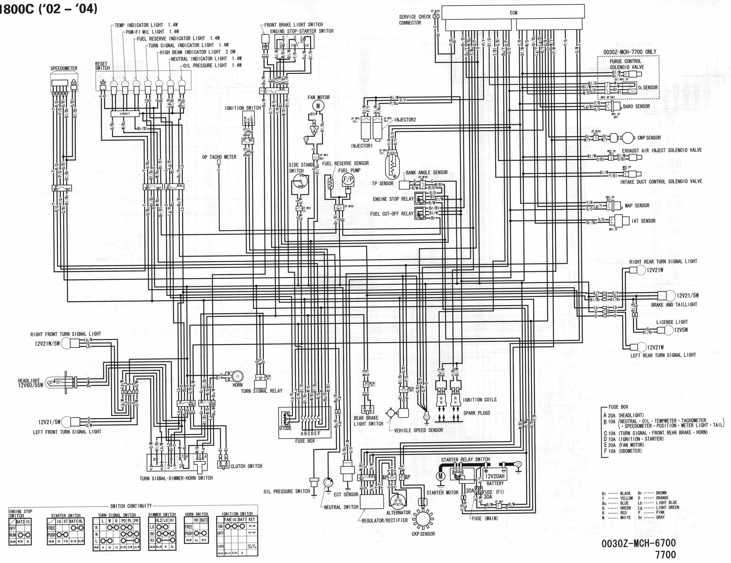 02 04_VTX1800_C_schematic motorcycle wire schematics bareass choppers motorcycle tech pages tachometer wiring diagram for motorcycle at soozxer.org