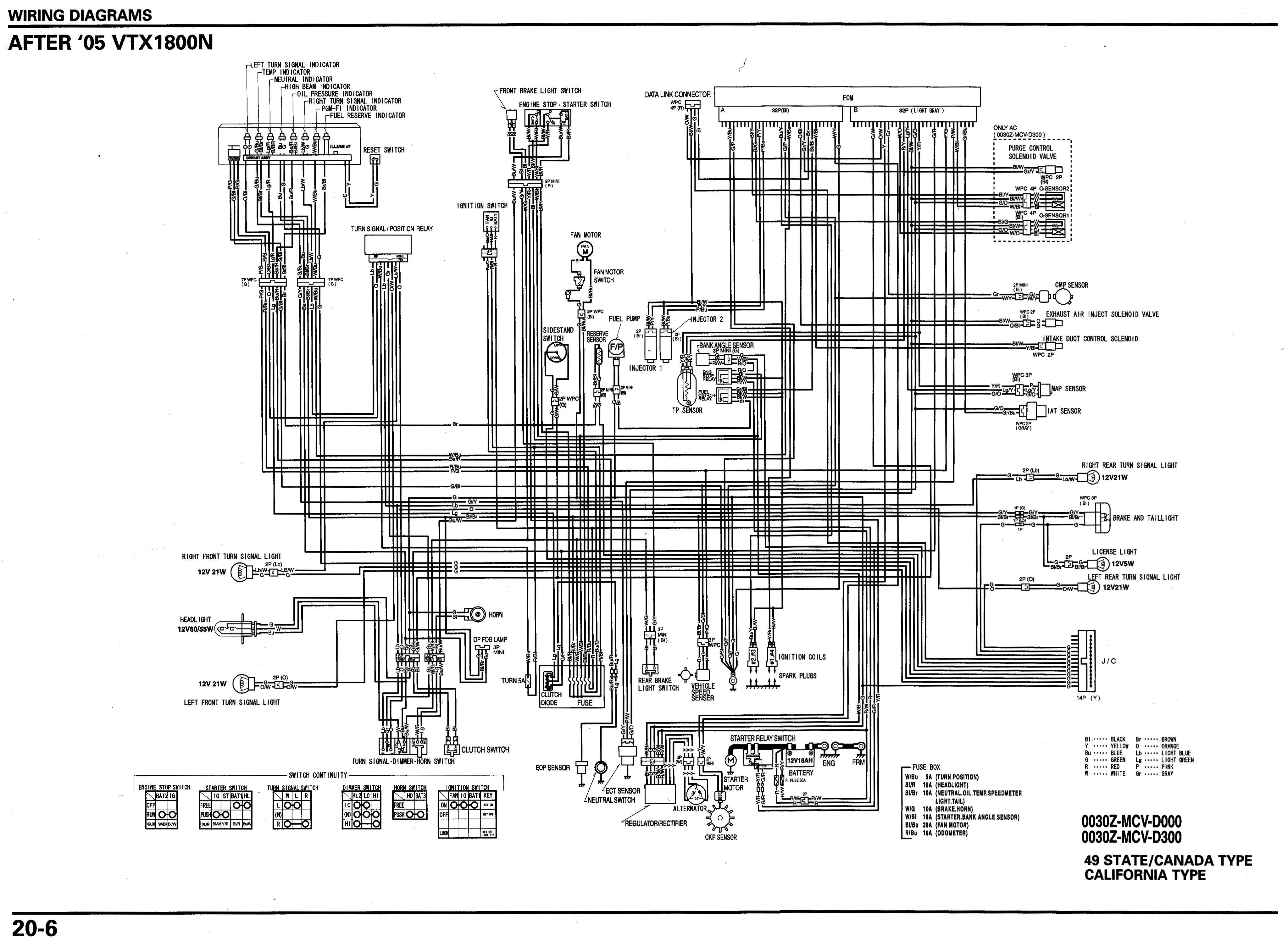 motorcycle wire schematics  bareass choppers motorcycle tech pages 06 vtx 1800n schematic