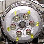 Clutch bolt torqueing pattern