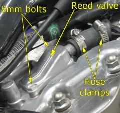 Rear cylinder reed valve
