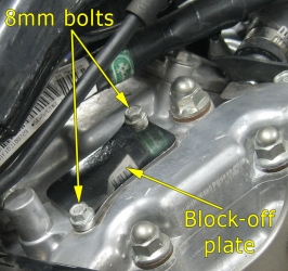 Rear cylinder block-off plate