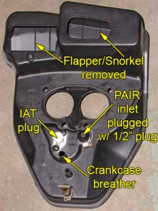 Back of VTX 1800 airbox w/ PAIR inlet plugged