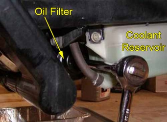 Oil filter w/ wrench in place