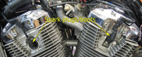 Left side spark plugs/boots