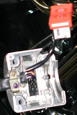 Right switch housing split open