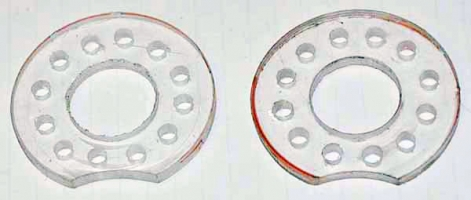 LED holes drilled in plexiglas donuts