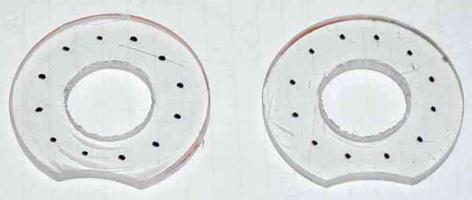 LED holes marked on plexiglas donuts
