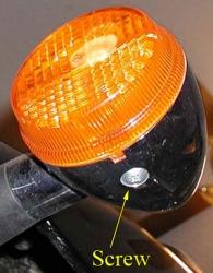 Turn signal lens screw
