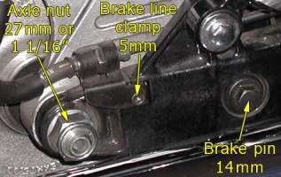 Right side swingarm hardware