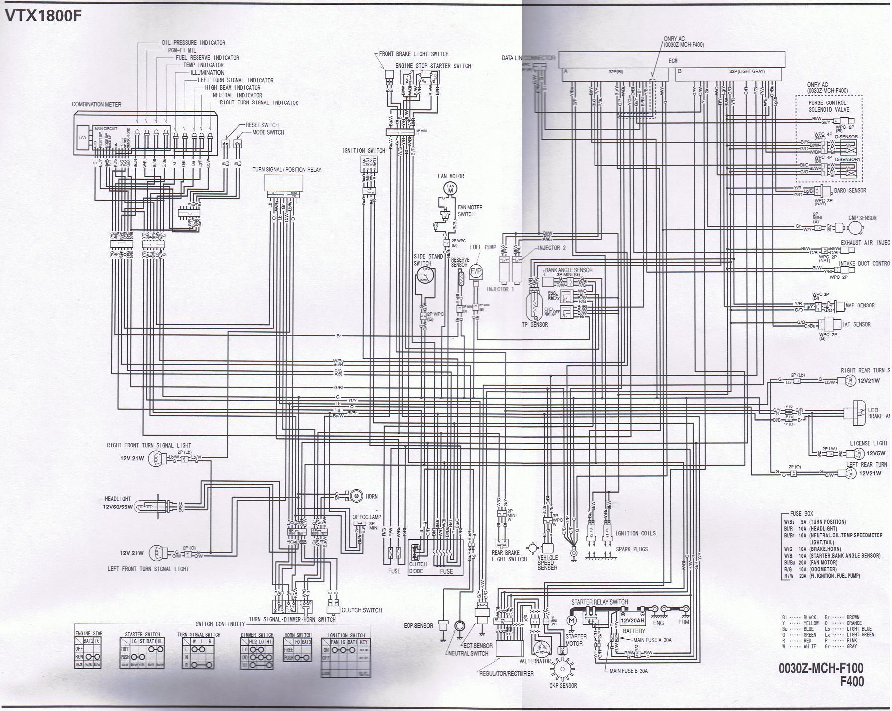 motorcycle wire schematics bareass choppers motorcycle tech pages Honda Valkyrie Engine 06 vtx 1800n schematic